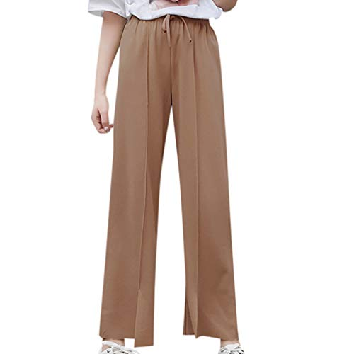- Women Linen Wide Leg Pant Casual Loose Soft Breathable Elastic Waist Beach Pants Palazzo High Waist Belt Trousers Beige
