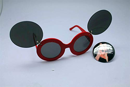 Button Pin of Lady Gaga Wearing Mouse Ear Flip Up Red Black Lens Sunglasses #LU01 (Gaga Sunglasses Flip Lady Up)