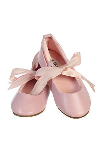 Ballerina Ribbon Tie Rubber Shoes Cinderella Flats Girls Party Pink Size 11