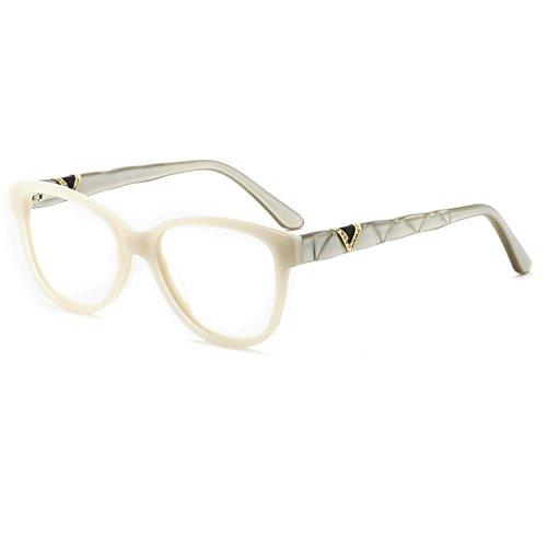 OCCI CHIARI Women Shine Acetate Eyeglasses Frames with Clear Lenses(Ivory White, 53)