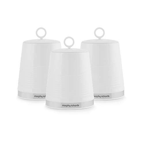 Morphy Richards 976005 Dune Kitchen Storage Canisters, Tea Coffee Sugar Set of 3 Canisters, White