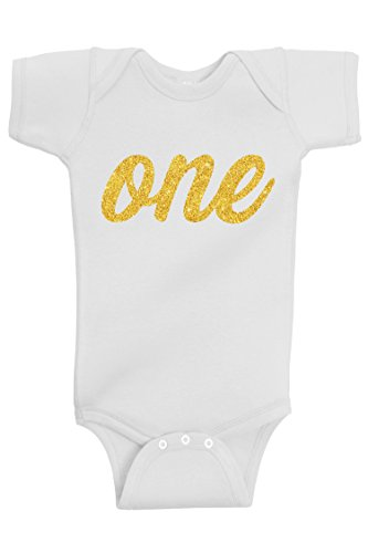 Aidens Corner Baby Boy & Baby Girl First Birthday | Handmade Bodysuits & Shirts | 1st Birthday Gold and Silver Flake Outfits