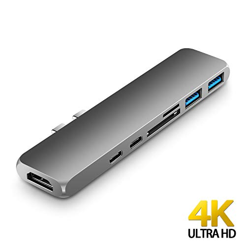 "USB Type C Hub Adapter 7-in-1 Dual USB Type C Dock for 2016/2017/2018 MacBook Pro 13"" and 15"" with 4K HDMI/Thunderbolt 3 (40 Gb/s)/USB-C/2xUSB3.0/SD/MicroSD Card Reader (Space Gray)"