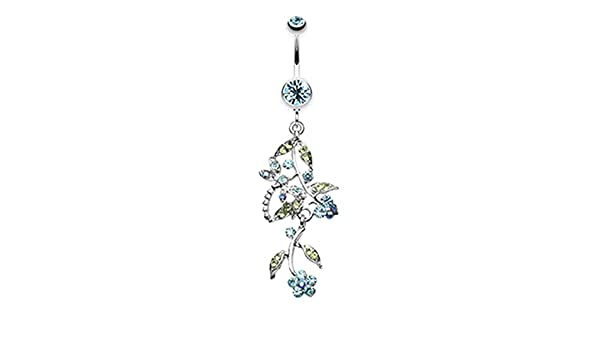 14 GA - Sold Individually 1.6mm Romantic Vines with Flowers Belly Button Rings