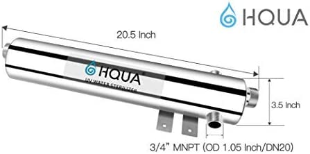 HQUA-TWS-12 Ultraviolet Water Purifier Sterilizer Filter for Whole House Water Purification,12GPM 120V, 1 Extra UV Lamp 1 Extra Quartz Sleeve
