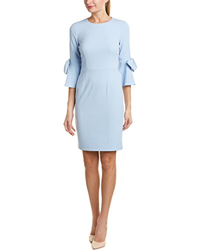 3/4 Bell Sleeve Shift Dress With Bow Detail, Powder Blue, 8 (Detail Bow)