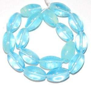 Steven_store G1372 Aqua Blue Glow-in-The-Dark Swirl 12mm Tapered Oval Czech Glass Beads 8