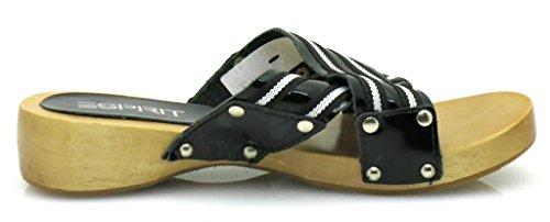 Reloj de madera chanclas para mujer para zapatos negro - negro