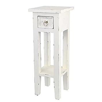 Buri Mahagoni Beistelltisch Mit Schublade Weiß Mit Antikem Design