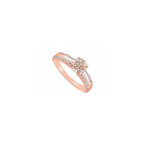 Four Prong Morganite with Two Row CZ Accents 14K Rose Gold Vermeil over Silver Engagement Ring
