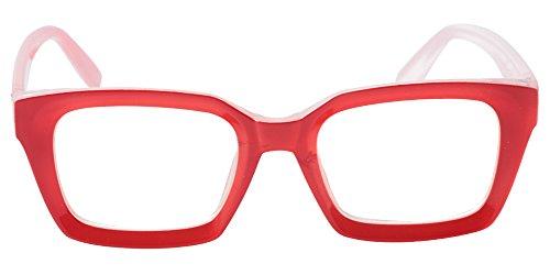 SOOLALA Retro Desinger 47mm Large Lens Square Reading Glass Big Eyeglass Frame, Red, 4.0