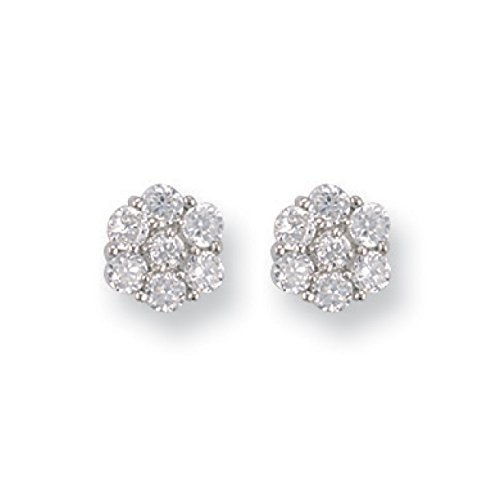 9 ct or blanc CZ Cluster à tige Earringss 1.9 G