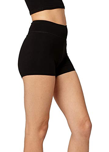 Premium Ultra Soft Stretch High Waisted Cotton Leggings for Women with Yoga Waistband - Short Shorts Black - XXX-Large