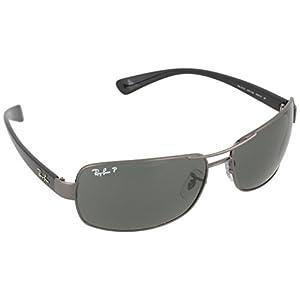 Ray-Ban Men's 0rb3379-01004/58 64rb3379 Polarized Rectangular Sunglasses, Gunmetal, 64 mm