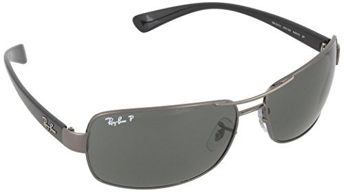 Ray-Ban RB3379 Rectangular Sunglasses, Gunmetal/Polarized Green, 64 mm
