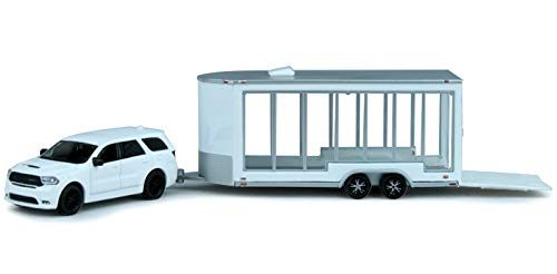 Durango Dodge Trailer - 2018 Dodge Durango R/T with Glass Display Trailer White Hitch & Tow Series 15 1/64 Diecast Models by Greenlight 32150 D