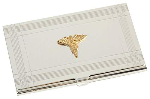 Bey-Berk D156D Silver Business Card Case with Gold Plated Dental Emblem, Grey (Dentist Business Card Holder)