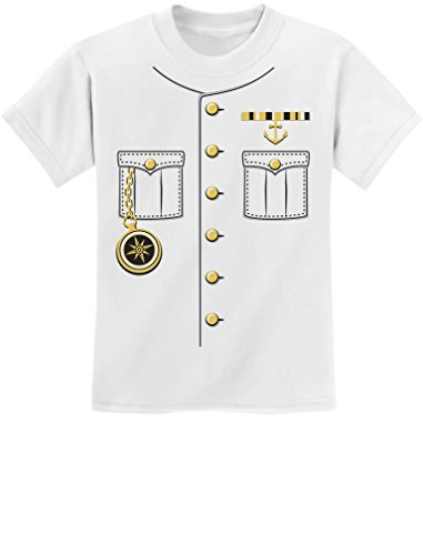Ship Captain Halloween Costume Outfit Suit Youth Kids T-Shirt Medium White