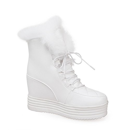 1TO9 Ladies Bandage Fur Collar Heighten Inside Platform Soft Material Boots White Sz4nN