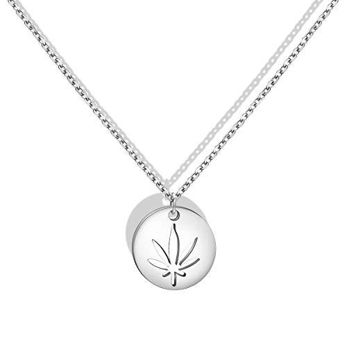 BNQL Cutout Marijuana Pot Leaf Necklace Cannabis 420 Jewelry (Silver)