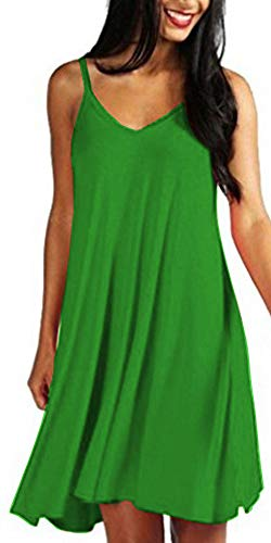 Mutoto Womens Adjustable Spaghetti Straps V Neck Plain Casual Summer Beach Sundress Swing Mini Dress (M, Green Sundress) ()