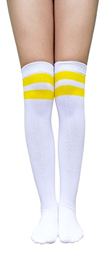 AM Landen Medium size Womens White with 2 Yellow Stripe Over Knee Socks Thigh Stripe Socks Great Quality from AM Landen