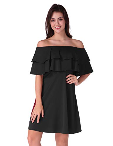 CHICIRIS Women's Off Shoulder Casual Short Sleeve Pleated Evening Club Swing Mini Dress Black Size S