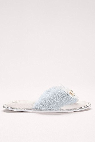 Pantofole Davids Da Sposa Impreziosite In Pelliccia Sintetica Stile Orla Blu