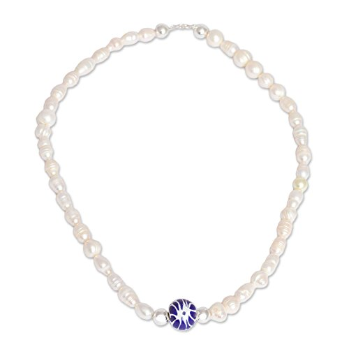 NOVICA White Cultured Mabe Pearl .925 Sterling Silver Necklace, 17.75