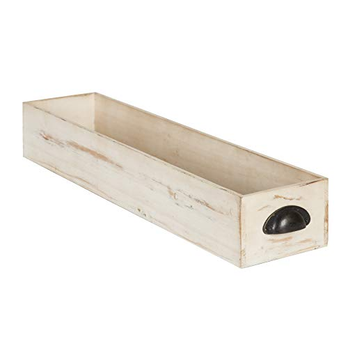 Kate and Laurel Woodmont Distressed Wood Trough Tray, Antique-White