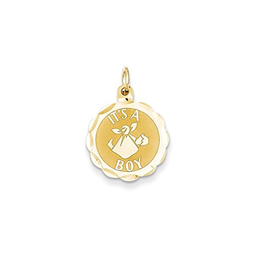 ICE CARATS 14kt Yellow Gold Its A Boy Scalloped Disc Pendant Charm Necklace Baby Fine Jewelry Ideal Gifts For Women Gift Set From Heart 14kt Gold Baby Boy Charm