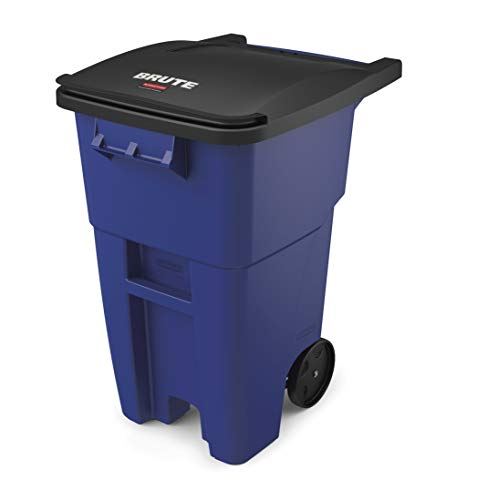 (Rubbermaid Commercial Products FG9W2700BLUE BRUTE Rollout Heavy-Duty Wheeled Trash/Garbage Can, 50-Gallon, Blue)