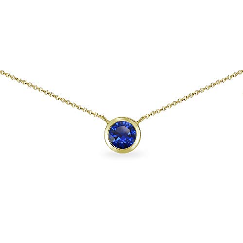 (Gold Flash Sterling Silver Created Blue Sapphire 6mm Round Solitaire Bezel-Set Dainty Choker Necklace for Women)