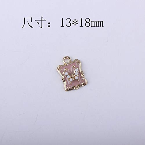 Handmade accessories - 10PCS/Lot 1318MM Enamel Square Animal Butterfly Pendant Charms Gold Color Tone Plated Oil Drop Alloy Metal Ornament Accessories