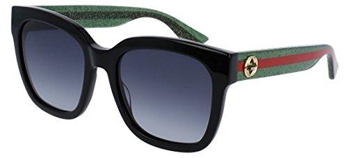 Gucci GG0034S - 002 Sunglasses Black/Green w/ Grey Gradient Lens 54mm (Gucci Sunglasses Case)