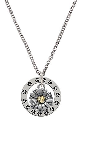 Delight Jewelry Two Tone Daisy Flower - Paw Prints Affirmation Ring Necklace