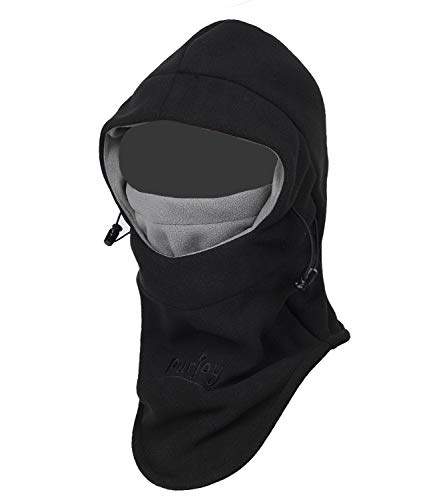 - Purjoy Multipurpose Use Thermal Warm Fleece Balaclava Hood Police Swat Ski Bike Wind Stopper Full Face Mask Hats Neck Warmer Outdoor Winter Sports Snowboarding Cap (Black+Grey)
