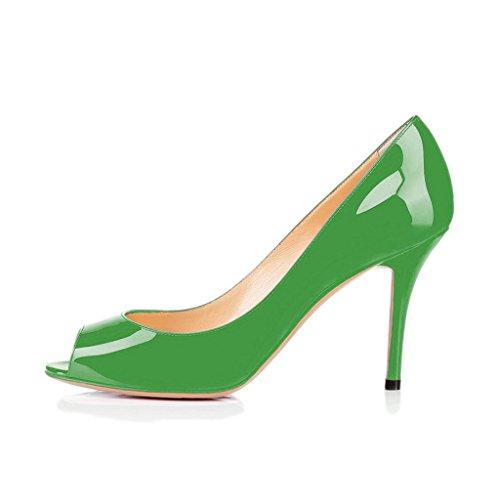 Donne Fsj Lusinghiose Scarpe Aperte Abito Formale Scarpe Tacco Alto Vernice Lucido Taglia 4-15 Us Verde