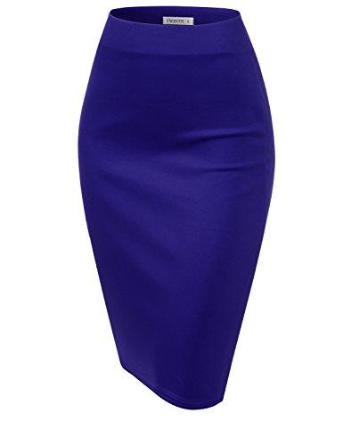 CLOVERY Women's Basic Comfort Stretch Cotton Elastic Waist Knee Length Pencil Skirt RoyalBlue 3XL Plus Size