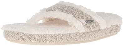 Acorn Women's Spa Thong with Premium Memory Foam Slip on Slipper, Grey Ragg Wool, Small / 5-6 Regular US
