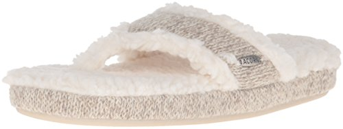 Acorn Women's Spa Thong with Premium Memory Foam Slip on Slipper, Grey Ragg Wool, Large / 8-9 Regular US