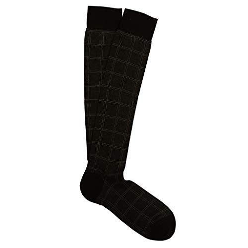 Marcoliani Milano Mens Over The Calf Windowpane Socks Pima Cotton Socks, Black, One Size Fits Most