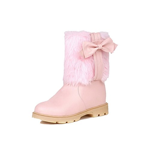 Allhqfashion Women's Low-top Pull-on Soft Material Kitten-Heels Round Closed Toe Boots Pink qImXbs