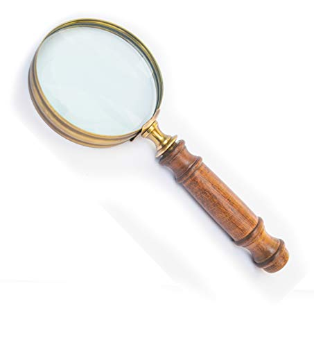 Deconoor Large Antique Brass Wooden Handle Magnifying Glass for Reading