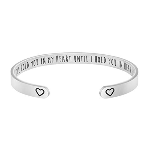 Joycuff I Will Hold You in My Heart Until I Hold You in Heaven Memorial Bracelet Sympathy Jewelry Gift for Loss of Spouse