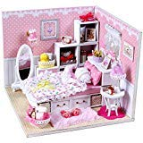 Flever Dollhouse Miniature DIY House Kit Creative Room With Furniture and Glass Cover for Romantic Artwork Gift( Drawing of Angel )