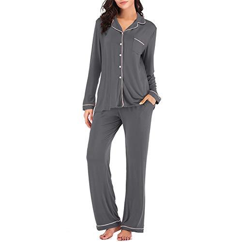 Women Pajamas Set Long Sleeve Sleepwear Button Down 2 Piece Nightwear Soft Pjs Grey S