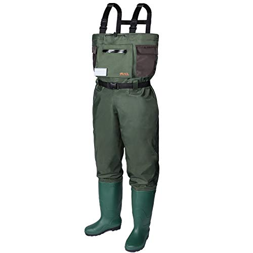 RUNCL Chest Waders, Waist-High Waders, Bootfoot Waders - Reinforced Nylon Outer Layer, Seamless Breathable Tech, Ergonomic Design, Fly Patch - Wader Fishing Fly Fishing Hunting (Green, M12)