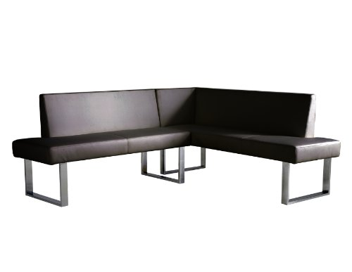 Vinyl Sectional Couch - Armen Living LCAMCOBLSF Amanda Sectional in Black and Chrome Finish