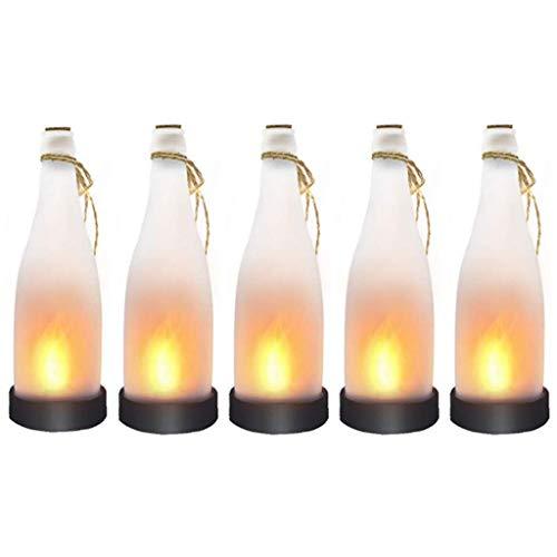 Klik Hanging Solar Powered LED Wine Bottle Lights Dancing Flame, 5 Pack Hanging Plastic Bottle Lights for Indoor Outdoor Use, Decoration for Backyard, Garden, Bedroom ()